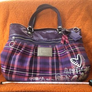 Coach Poppy purple and pink plaid tartan handbag